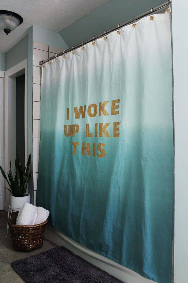 Dip-dyed quote shower curtain