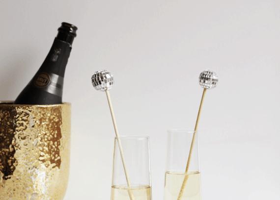 Disco ball drink stirrers