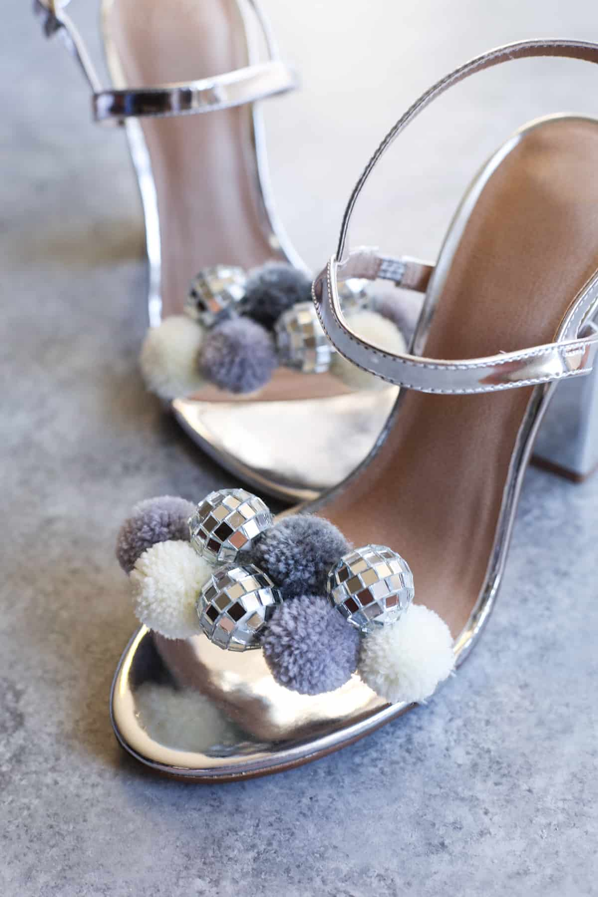 Disco ball pom pom shoes
