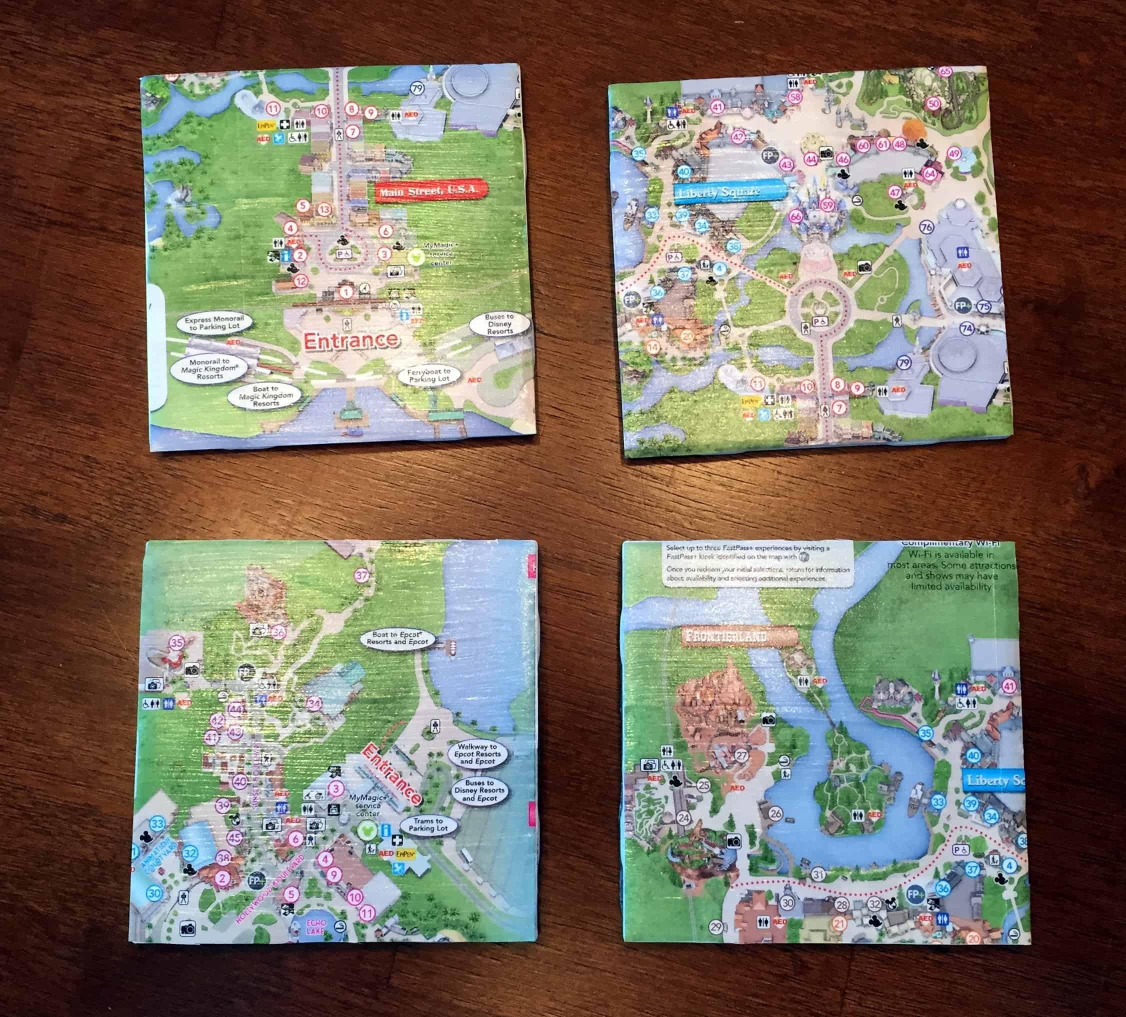 Disney park map coasters