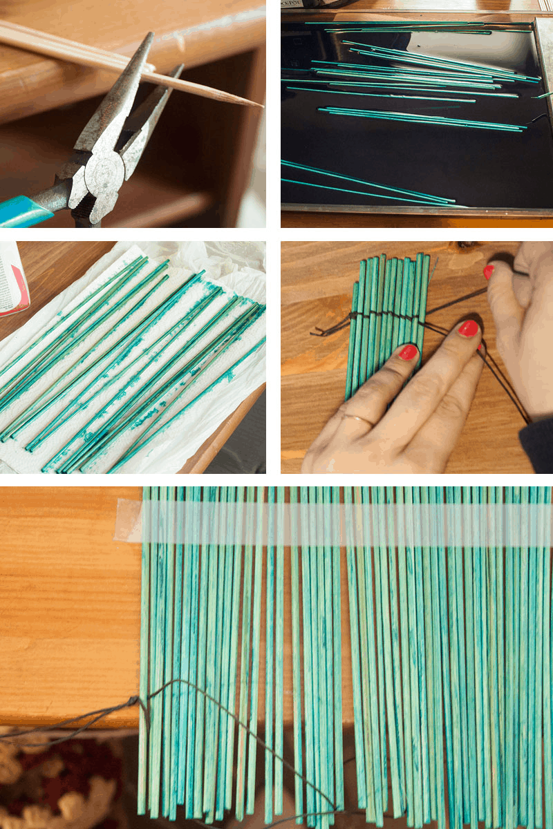 Dyed bamboo stick placemat