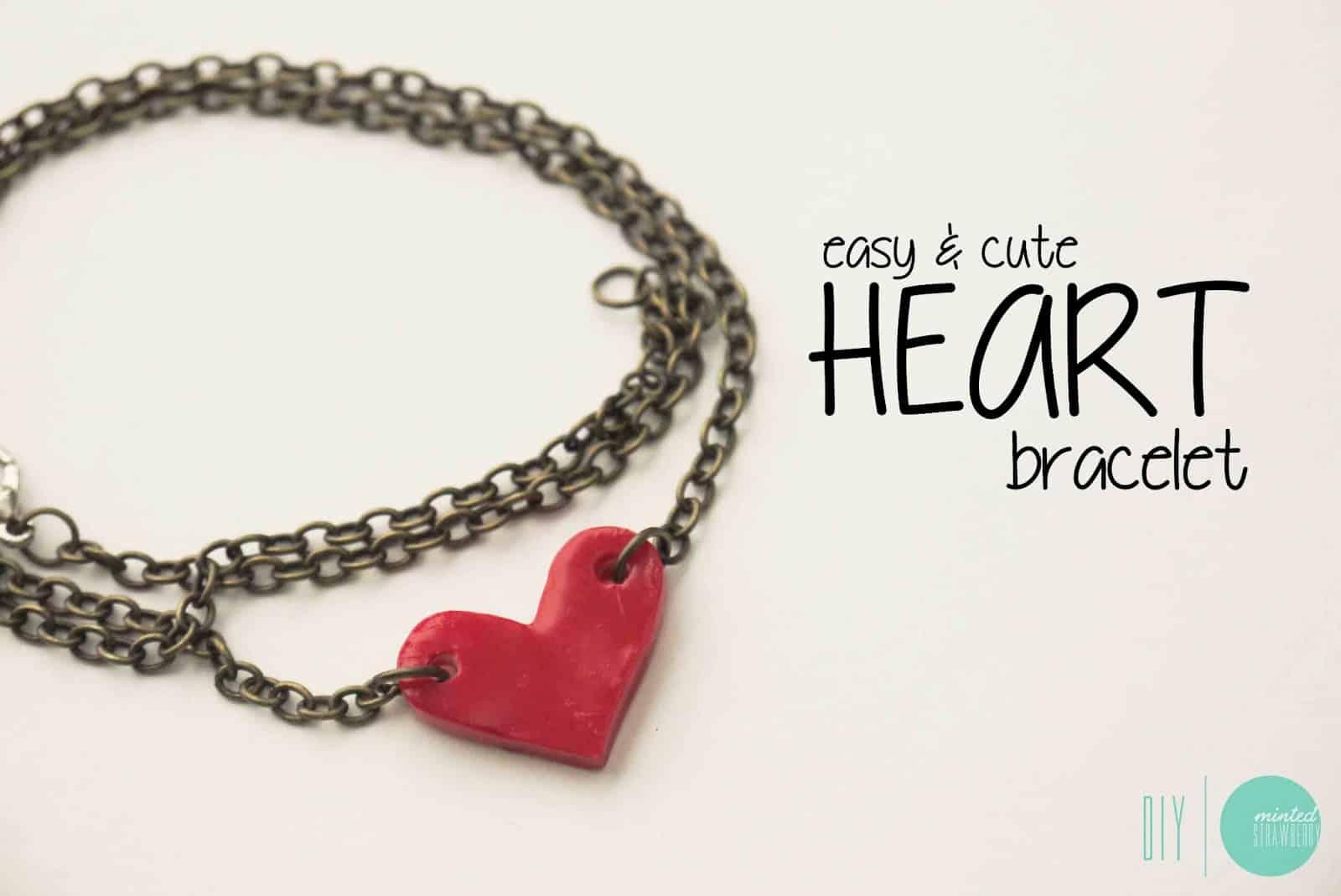 Easy clay heart chain bracelet