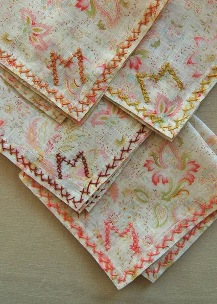 Embroidered monogram handkerchief | Dainty Embroidered Handkerchief Designs | Sewing
