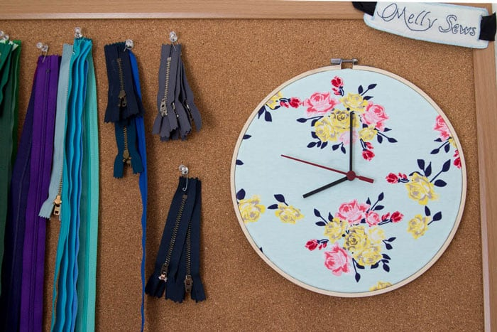 Embroidery hoop clock