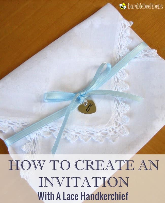 Envelope folded and ribbon tied hanky invitation