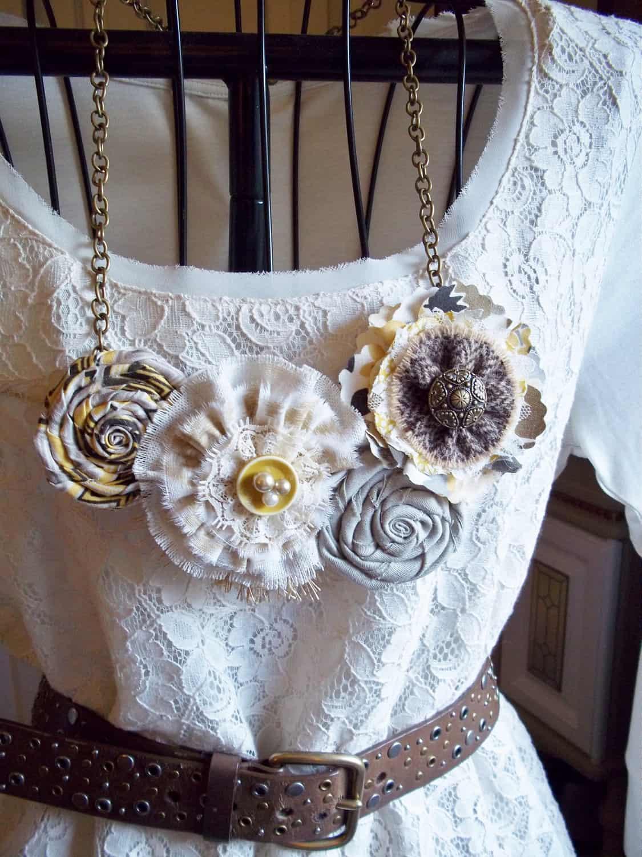 Fabric and bead bib necklace
