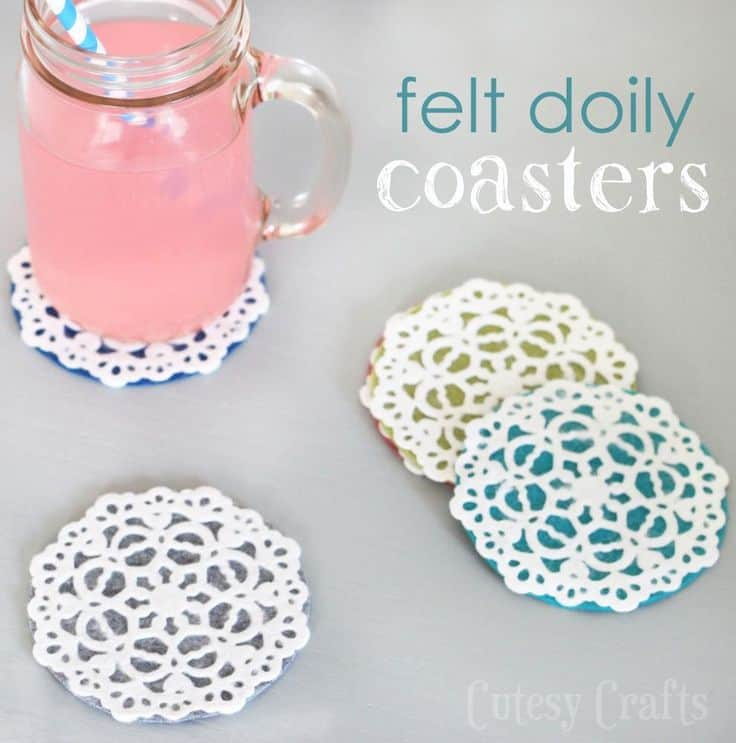 Felt and paper lace doily coasters