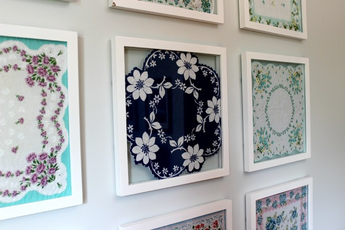 Framed handkerchief art