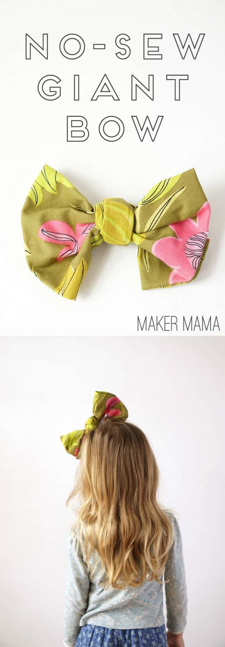 Giant no-sew fabric bow