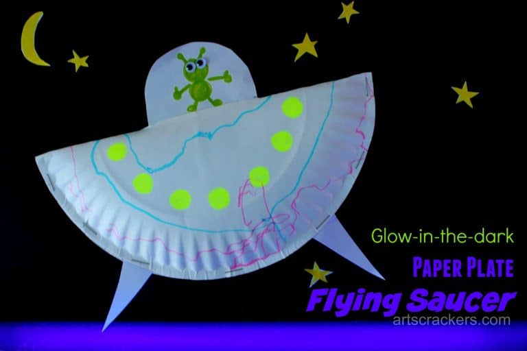 Glow in the dark paper plate flying saucers