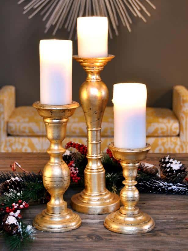 Gold leaf candle sticks