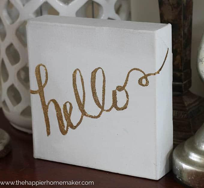 Gold leaf lettered canvas