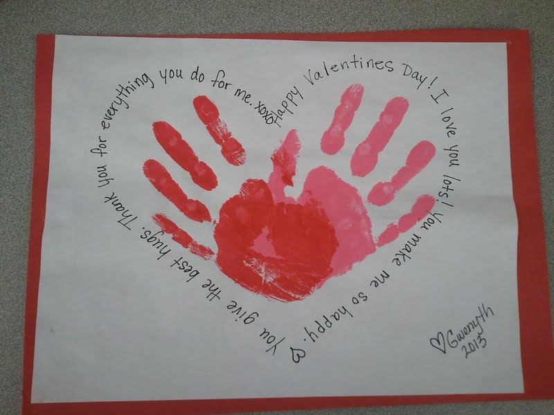 Handprint hearts and compliments Cute Homemade Valentines Day Crafts for Kids' Classrooms