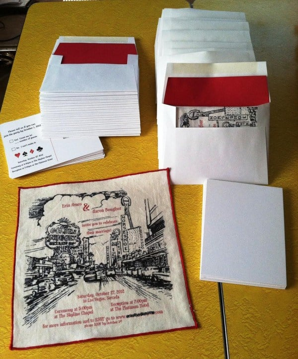 Home printed hanky invitations