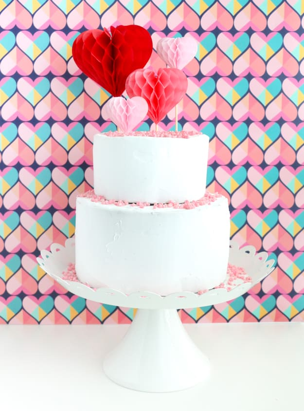 Honeycomb hearts cake toppers