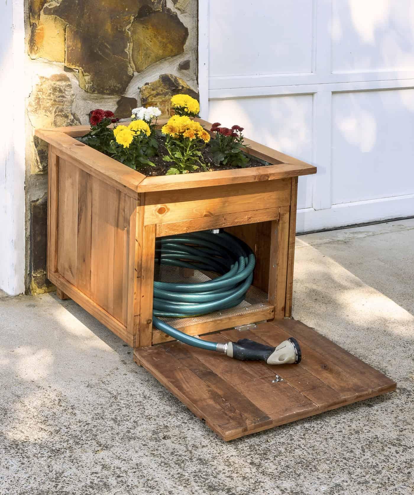 Hose storage wooden planter