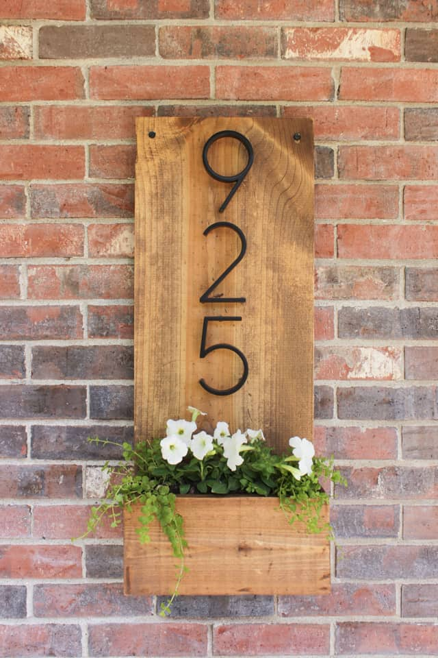 House number wooden planter