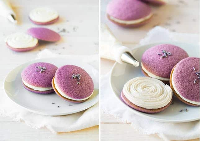 Lavender whoopie pies with vanilla cream frosting