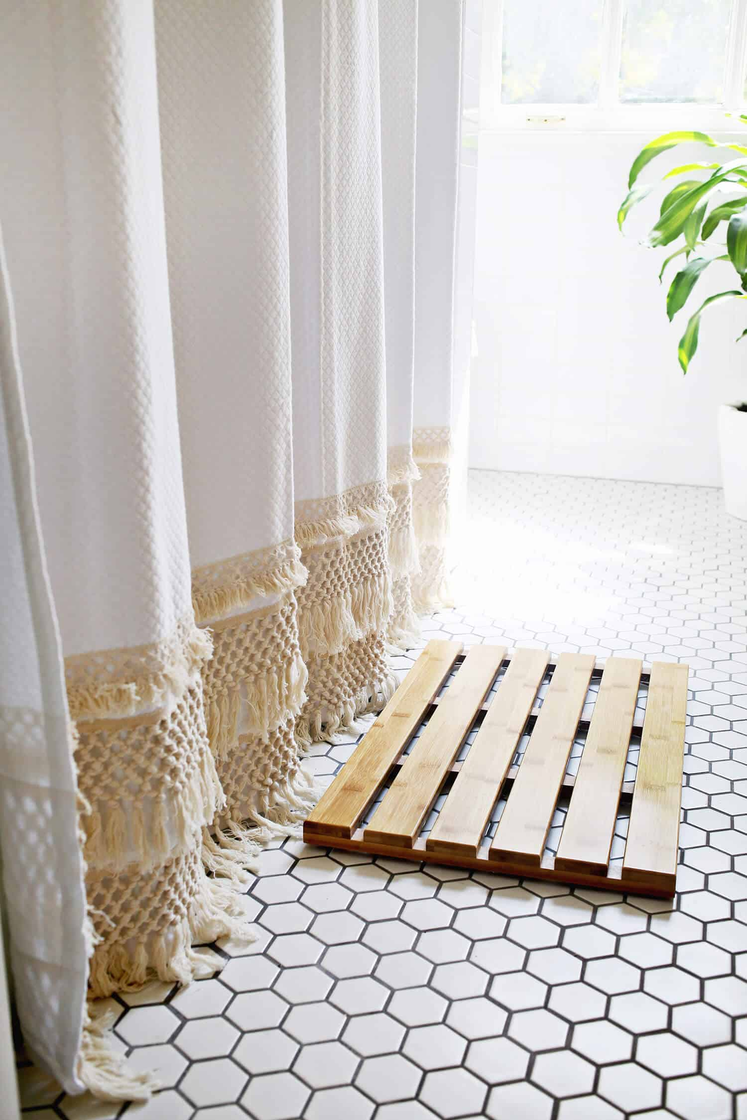 Macrame shower curtain