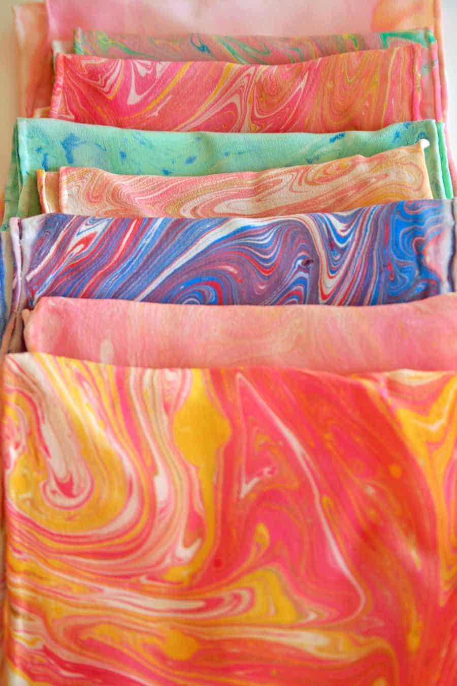 Marbled silk