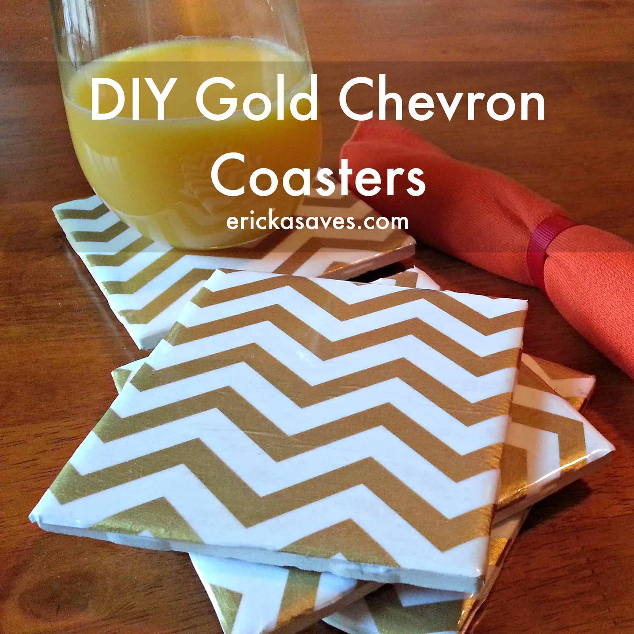 Metallic gold chevron coasters