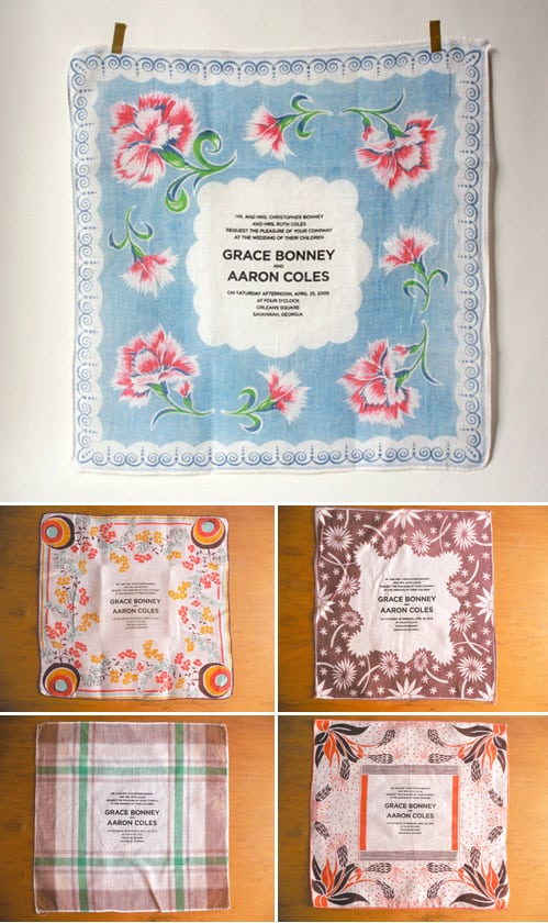 Mismatched hanky invitations