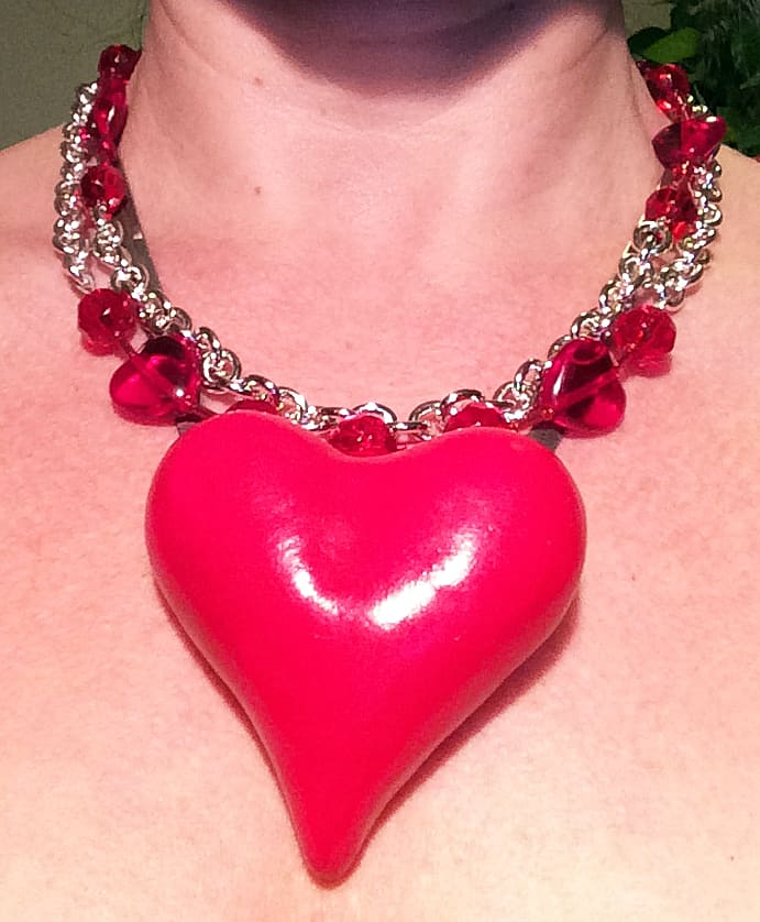 My big fat red heart polymer clay necklace