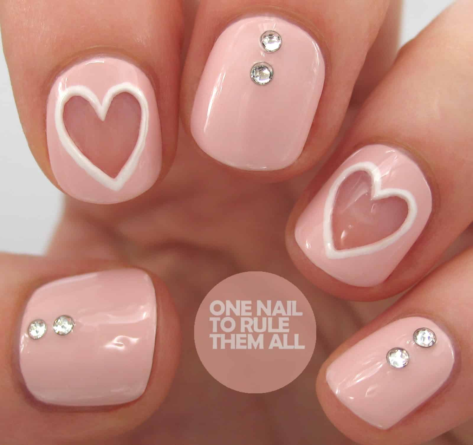 Negative space heart nails