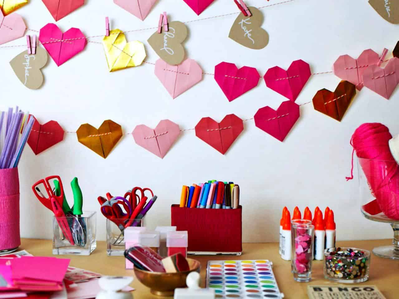 Origami heart garlands