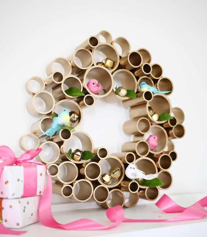 PVC pipe golden wreath