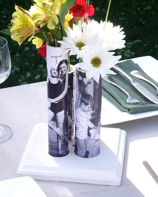 PVC pipe mod podge vases