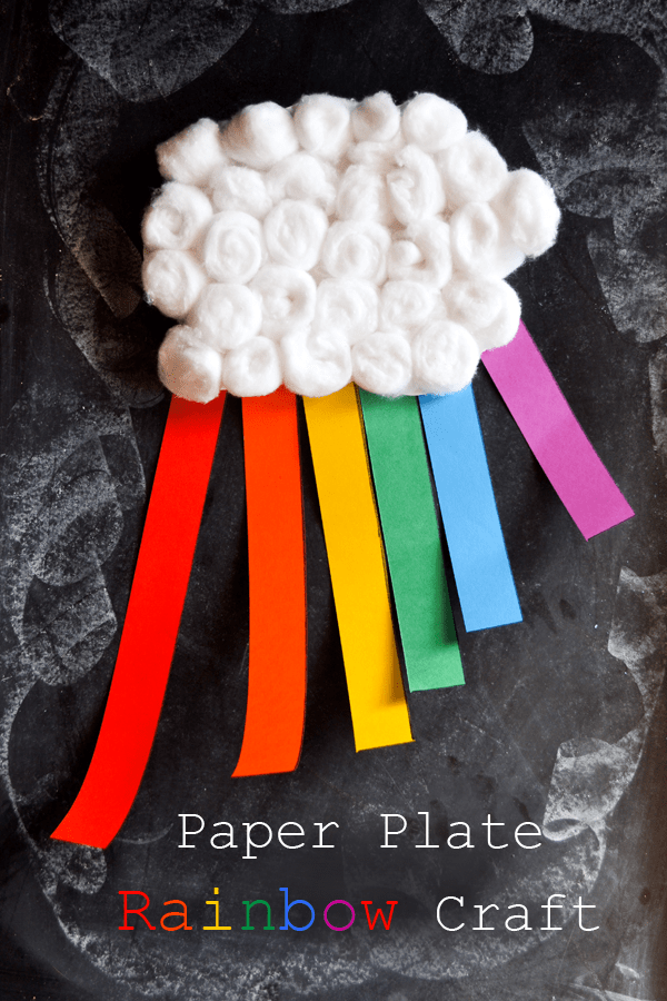 Paper plate and cotton ball rainbow
