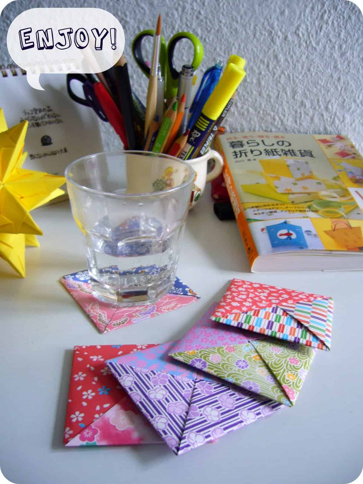 Patterned origami coasters