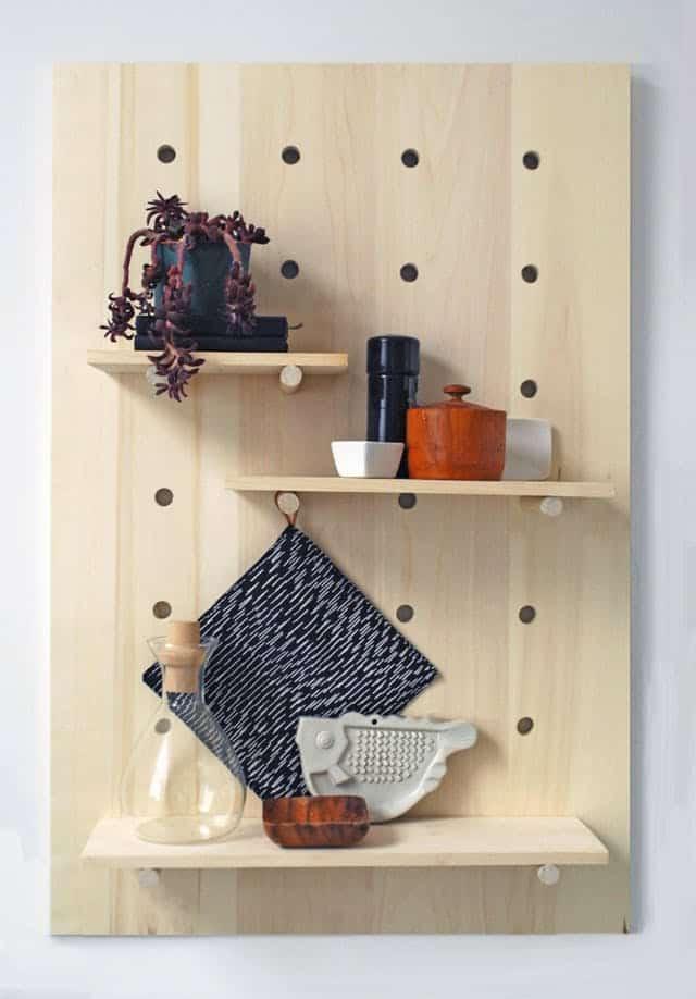 Pegboard shelves