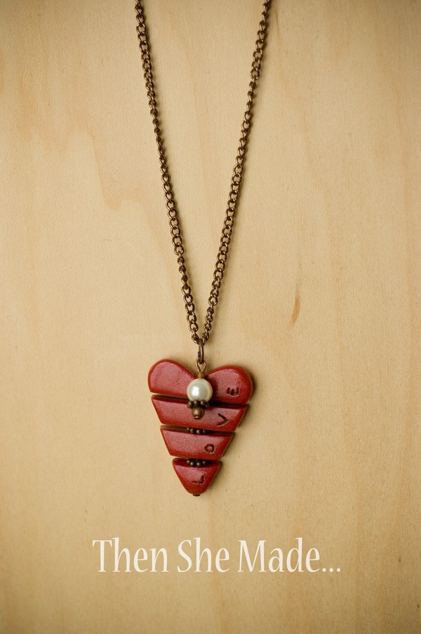 Pieces of my heart clay necklace