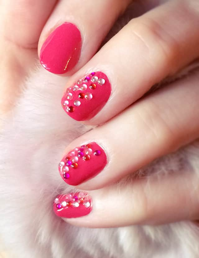 Pink nails with jewels
