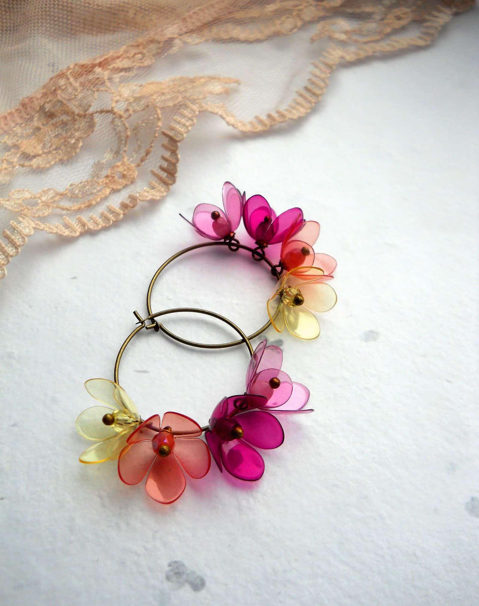 Plastic bottle flower hoops