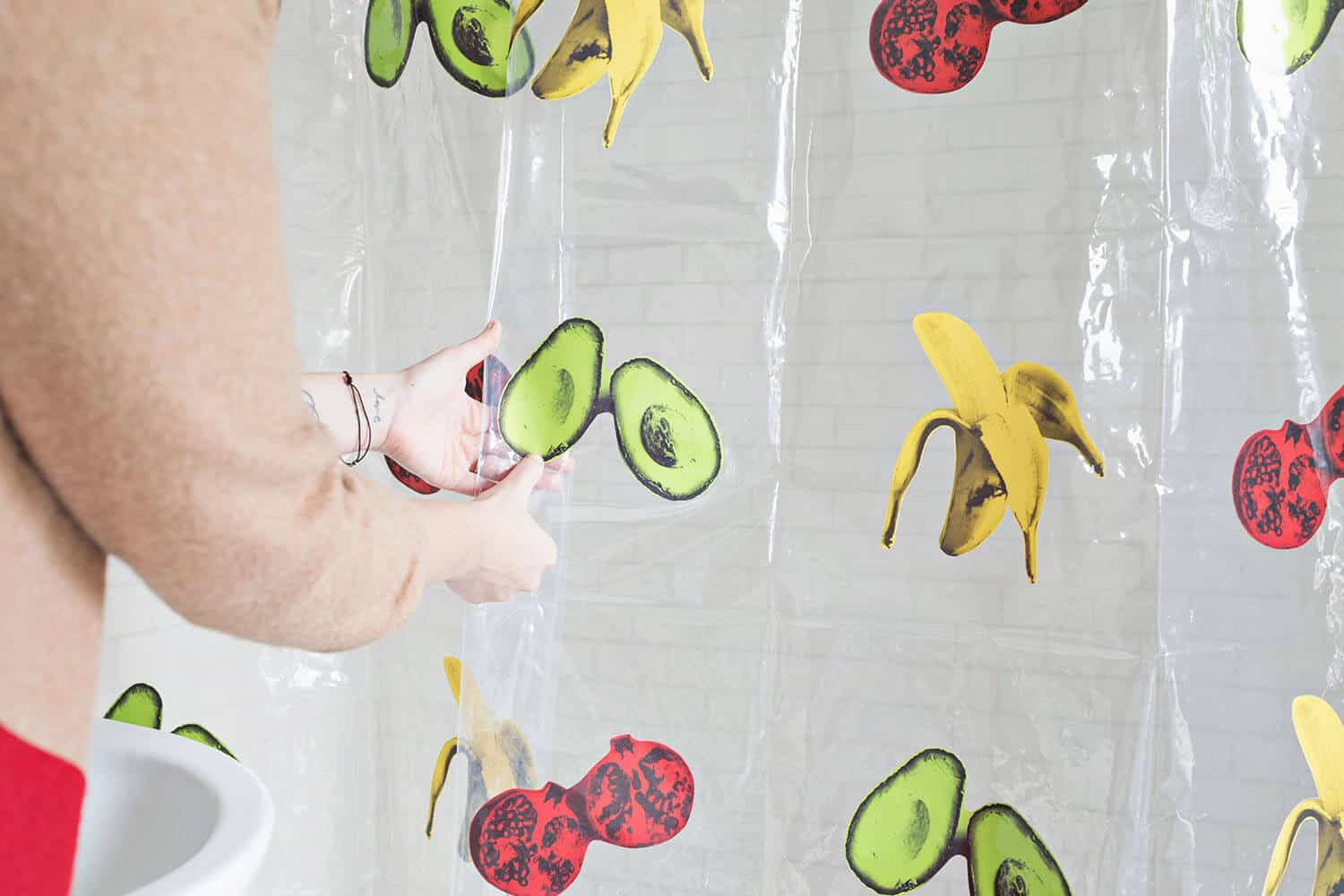 Pop art sticker plastic shower curtain