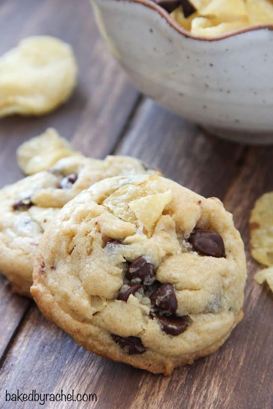 Potato chip cookies with chocolate and sea salt