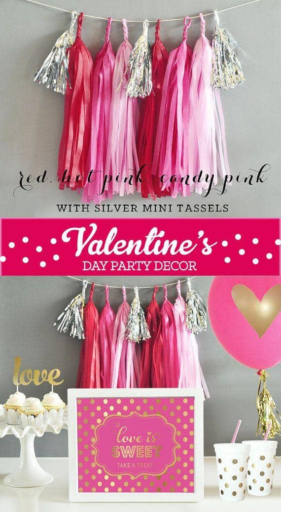 Pretty tassel garlands with metallic mini tassels Adorable DIY Decor for Valentine's Day Parties