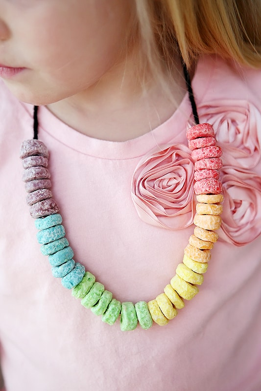Rainbow Froot Loops necklaces