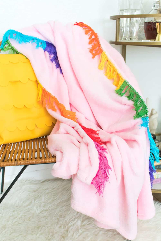 Rainbow fringe blanket