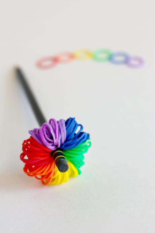 Rainbow loom pom pom pencil toppers