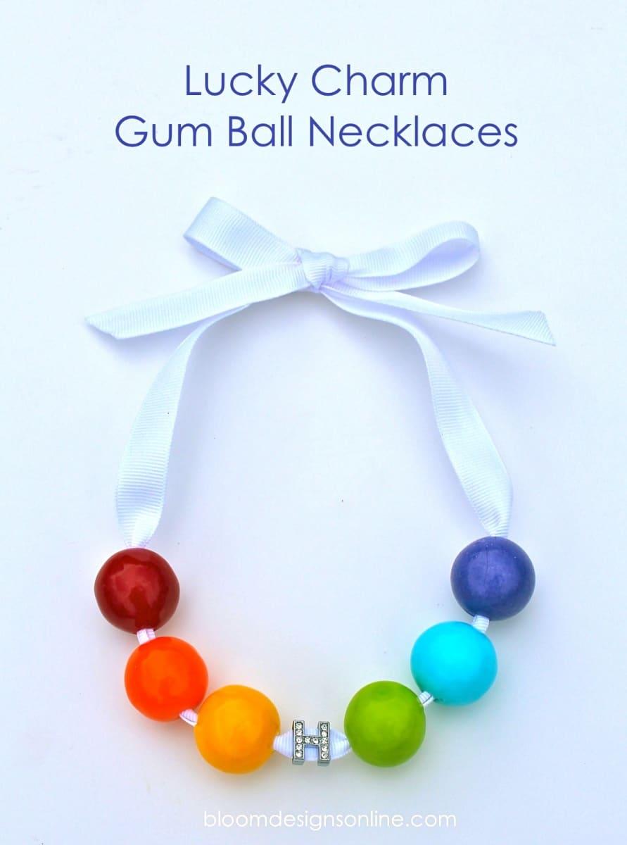 Rainbow lucky charm gum ball necklace