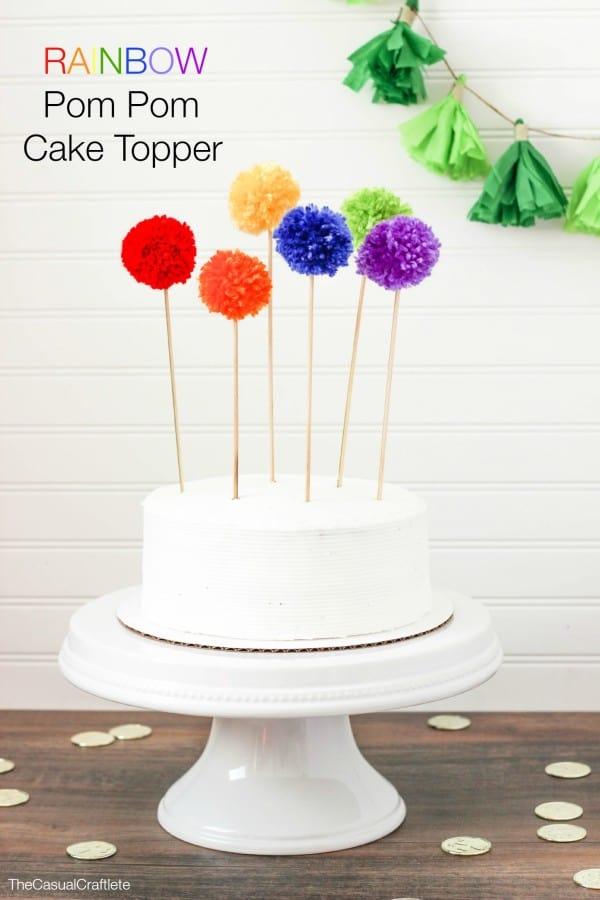 Rainbow pom po cake toppers