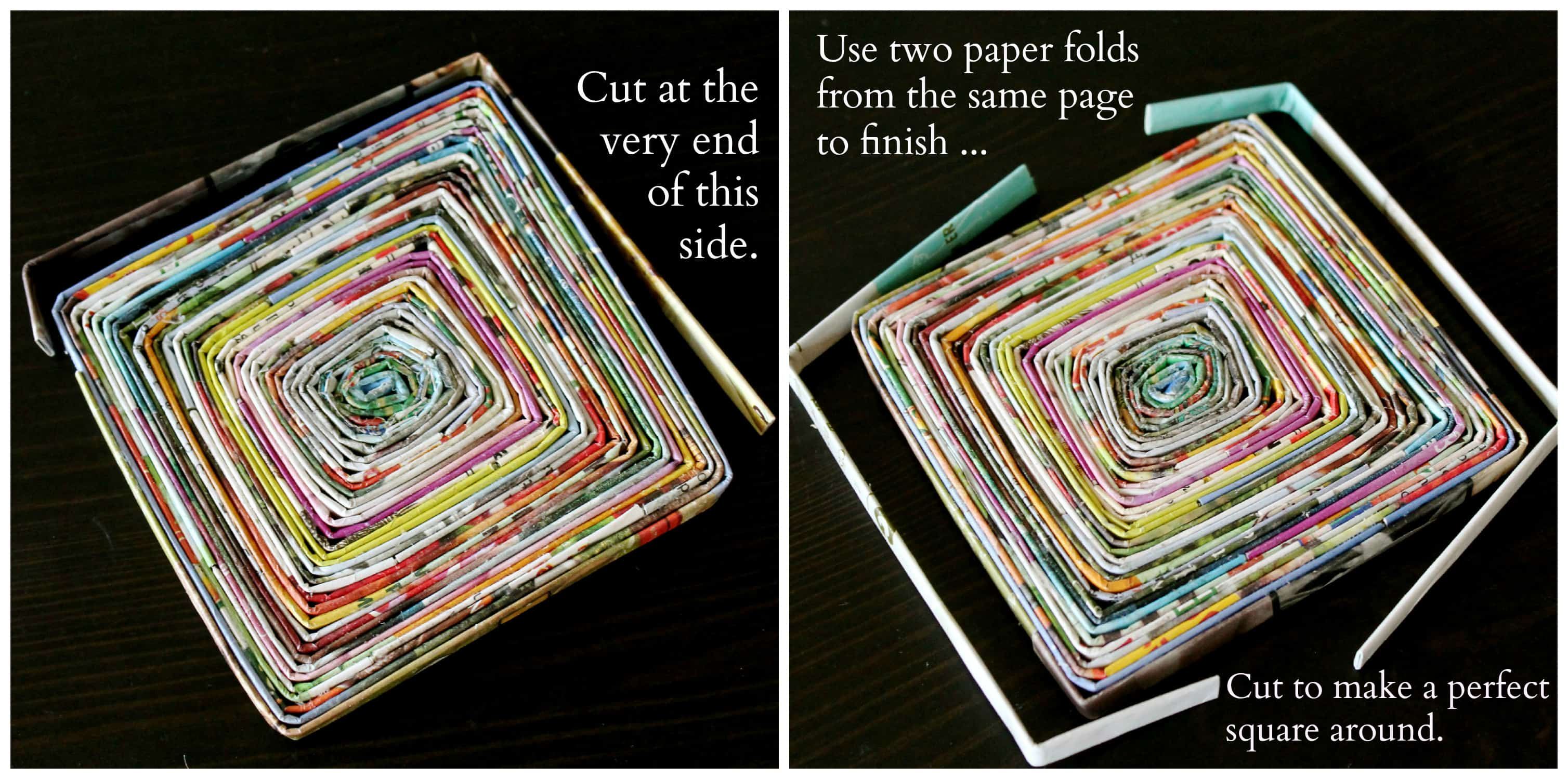 Rolled magazine page coasters