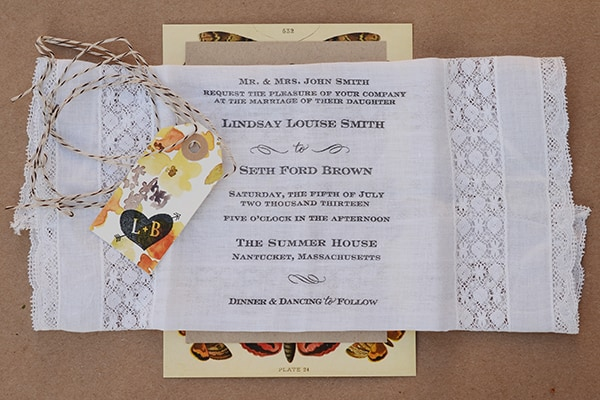 Rubber stamp and lace hanky wedding invitations