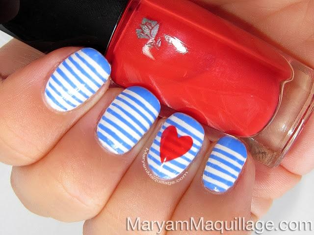 Sailor heart nails