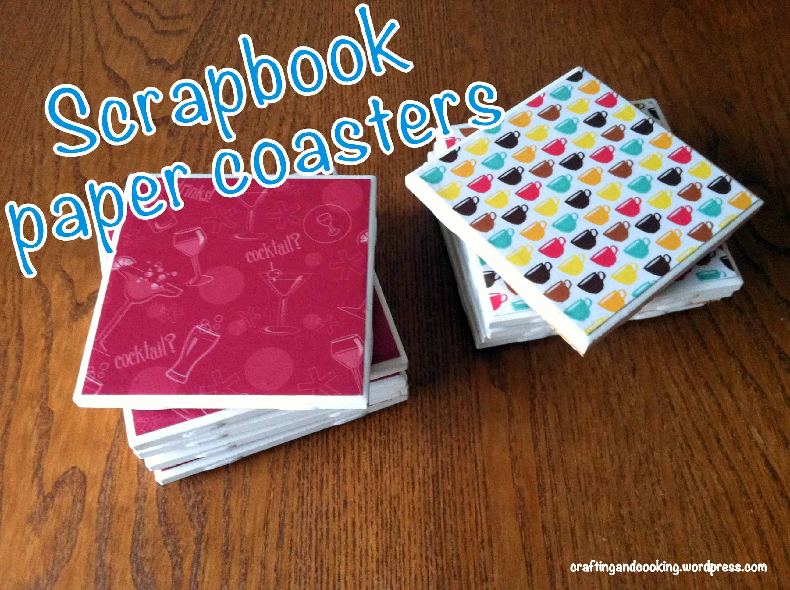 Scrapbook paper and tile coasters