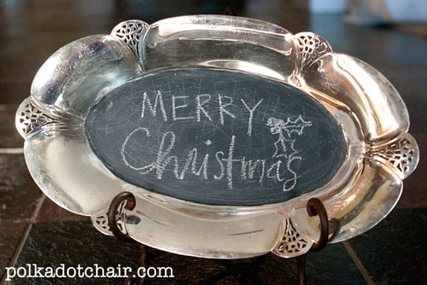 Silver chalkboard platter